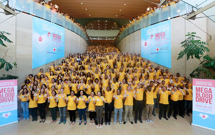 world mission society church of god, new york, mega, blood drive, 2015, manhattan, nyu, kimmel center, yellow shirts, voluteers