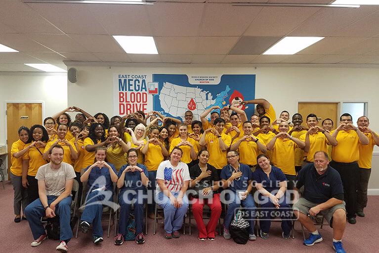 east coast mega blood drive 2016, world mission society church of god in boston, yellow shirt, volunteer