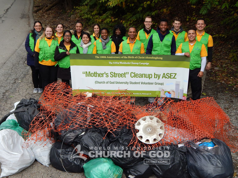 ASEZ, wmscog, world mission society church of god, PA, Pennsylvania, cleanup, reduce crime, volunteerism, pittsburgh, Pitt, university, Oakland, Mother's Street