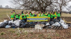 Group photo of World Mission Society Church of God volunteers after Kentucky Louisville Neighborhood cleanup