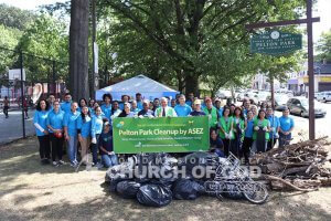 Group shot of ASEZ volunteers during the Pelton Park cleanup in Yonkers, NY